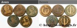 LOUIS XVI Lot de cinq pièces de 2 sols dit au faisceau, type FRANÇOIS n.d. s.l.
