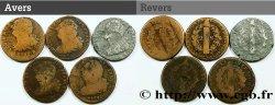 LOUIS XVI (MONARQUE CONSTITUTIONNEL) Lot de cinq pièces de 2 sols dit au faisceau, type FRANÇOIS n.d. s.l.
