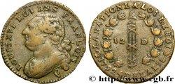 LOUIS XVI 12 deniers dit au faisceau, type FRANCOIS 1792 Perpignan