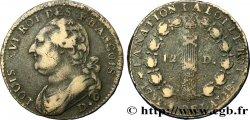 LOUIS XVI 12 deniers dit au faisceau, type FRANCOIS 1792 Dijon