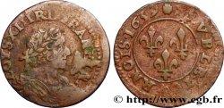 LOUIS XIII LE JUSTE Double tournois au grand buste viril drapé 1639 Vallée du Rhône