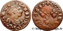 LOUIS XIII LE JUSTE Double tournois, type 14 1639 Bordeaux