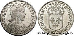 LOUIS XIV LE GRAND OU LE ROI SOLEIL Demi-écu à la mèche longue 1651 Saint-Lô