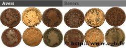 LOTS Lot de six pièces de 12 deniers dit au faisceau, type FRANCOIS et FRANCAIS n.d. s.l. F