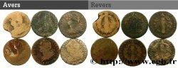 LOUIS XVI Lot de six pièces de 2 sols dit au faisceau, type FRANÇOIS n.d. s.l. MB