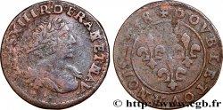 LOUIS XIII Double tournois au grand buste viril drapé 1638 Vallée du Rhône S