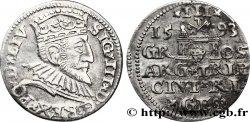 LIVONIE - SIGISMOND III VASA Trois groschen ou trojak ryski 1593 Riga